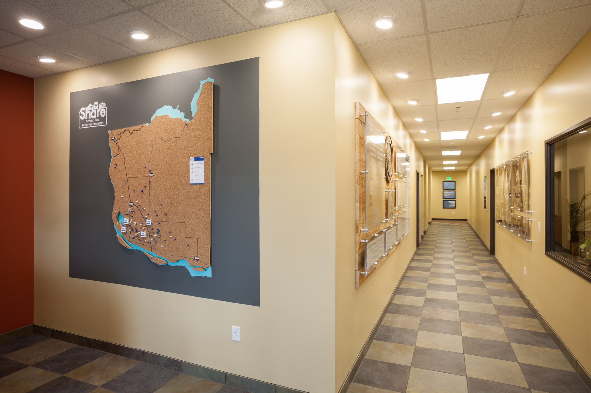 Share Fromhold Service Center - Cork board Map and Hallway Displays